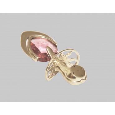 Smoczek srebrny, mały z różowym kryształem
