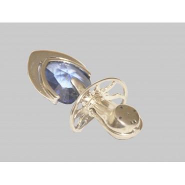 Smoczek srebrny, mały z niebieskim kryształem