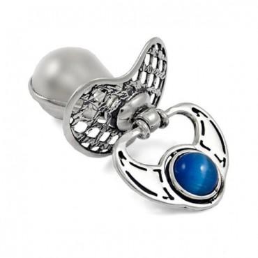 Smoczek srebrny, mały z niebieskim koralikiem